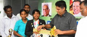 Hon. Minister Sajith Premadasa donates a House worth LKR 3 Million to Youth Olympic Champion Parami Wasanthi Maristela