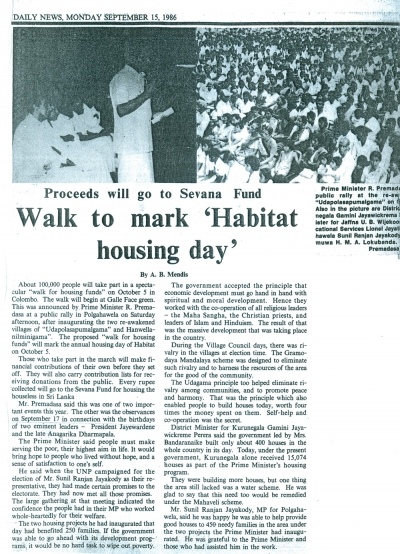 "Walk to Make ""Habitat Housing Day"" (15.09.1986 Daily News)"